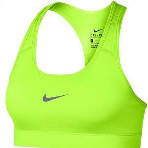 NWT. Neon Yellow Nike Pro 360 sports bra.
